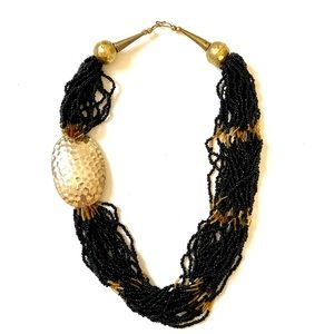 Vintage Boho brass statement seed bead necklace